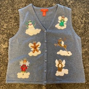 Angels, Snowman, Gingerbread Ugly Christmas Vest